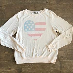 Cream Wildfox flag sweatshirt